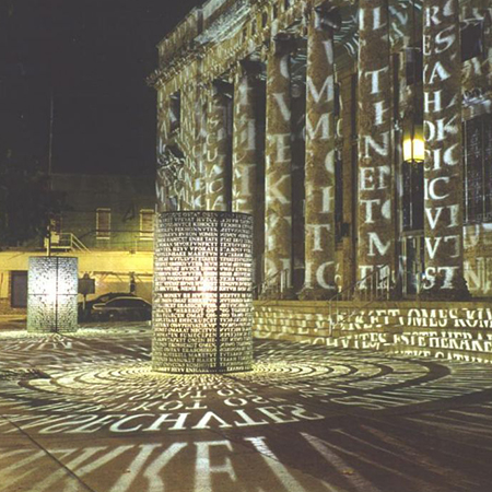 Lux Caloosa Manuscripts by Jim Sanborn 2001 in front of the Sidney and Berne Davis Art Center Photo courtesy of Ft Myers